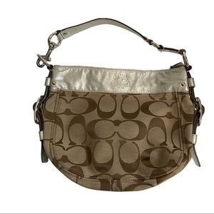 Coach Zoe Signature Hobo Silver/Tan J0849-12657